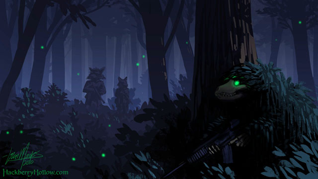 An undead soldier hiding in a dark forest wearing a ghillie suit